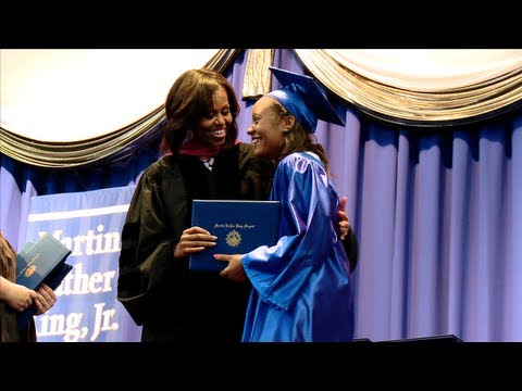 The First Lady, Michelle Obama, delivers the commencement address to graduates of the Martin Luther King, Jr. Academic Magnet High School for Health Sciences and Engineering at Historic Pearl High in Nashville, TN on May 18 at 1:00 PM. The school serves approximately 1,200 students in grades 7 through 12 with a curriculum that emphasizes mathematics and science. Housed in the historic Pearl High School building, MLK is consistently ranked among the best public schools in the nation for its academic rigor and high graduation rate.
