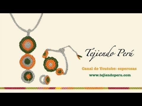 Collar, pulsera y anillo en crochet (con icord)