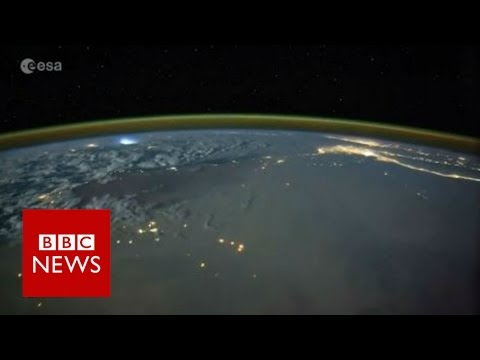 Space timelapse shows lightning storms - BBC News