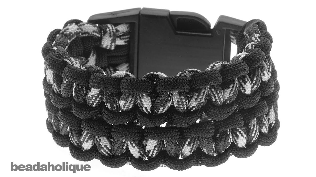 How To Make A Wide Double Cobra Paracord Bracelet Youtube