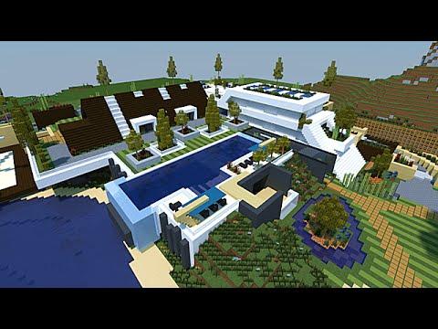 Minecraft maison moderne conceptuelle 1 2 youtube for Minecraft maison moderne