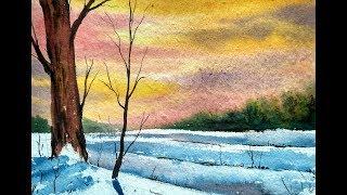 Simple Water Color landscape Painting