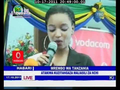 MISS TANZANIA URGED TO PROMOTE TANZANIA ON MISS WORLD ON TBC NEWS 17.10.2011
