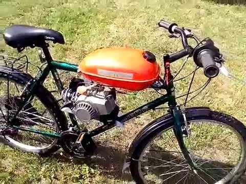 Rower z silnikiem spalinowym 49 cm3. Homemade motorized bicycle with 49 cm3 pocket bike engine.