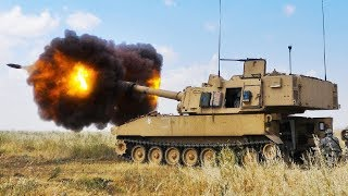M109A6 Paladin 155mm Artillery System in Action - Direct Fire