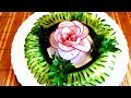 HOW TO MAKE CUCUMBER GARNISH DESIGN - ROSE OF RADISH & VEGETABLES CARVING - ART IN CUCUMBER CUTTING