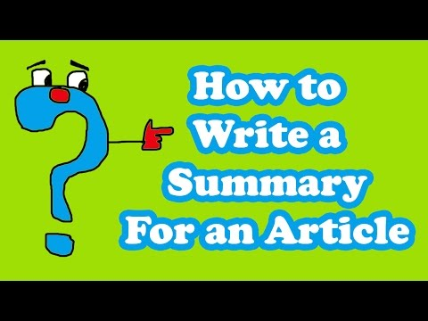 how to write a article summary