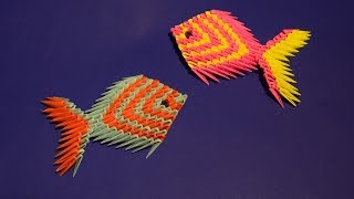 3D origami a pretty fish (a fingerling) Tutorial Assembly for beginners