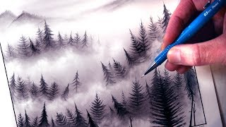 How to Draw a Misty Forest Landscape