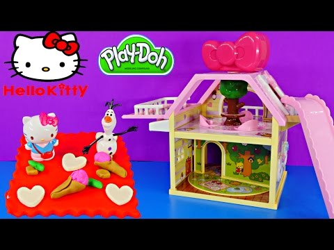 Play Doh Hello Kitty Tree House Playset Frozen Olaf Plastilina Toys Playdough Sanrio ハローキティ video