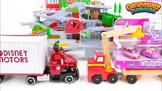 Disney Motors and Shopkins Cars play on our Giant Tomica Tracks!