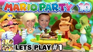 Lets Play MARIO PARTY 10! Bowser's Chaos Castle! (FGTEEV 4 Player FAMILY GAMEPLAY Part 1)