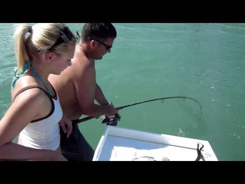 Catching a large Stingray at Sanibel Island, FL