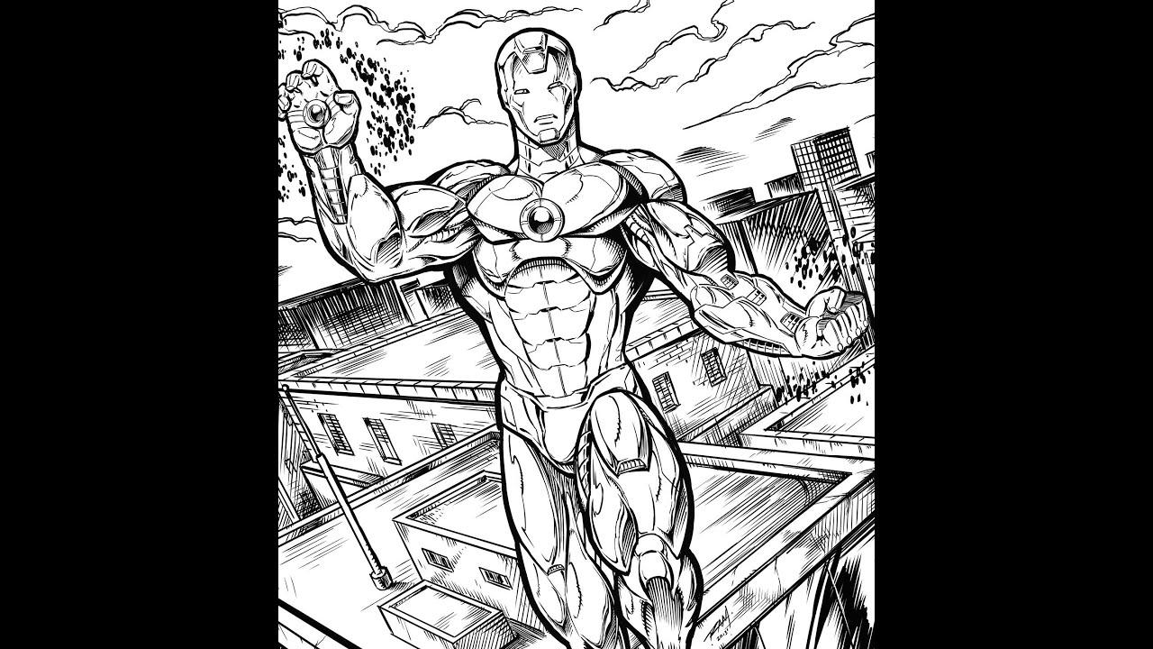 Iron Man Speed Drawing Movie Comic Book Style Artwork