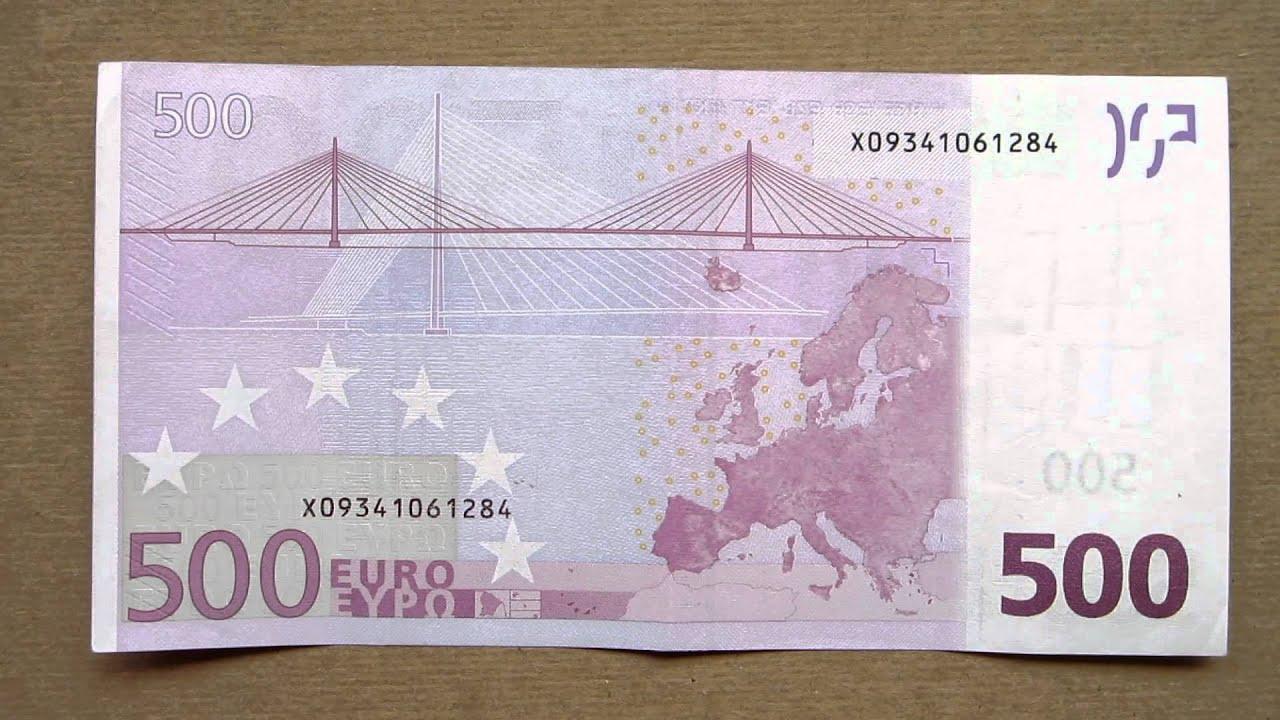 500 Euro Banknote (Petsto Eura / 2002), Face & Reverse - YouTube