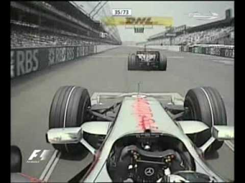 Alonso attacking Hamilton at US Grand Prix 2007
