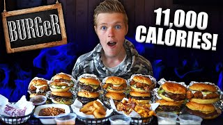 11,000 CALORIE BURGeR MENU CHALLENGE! | FULL MENU CHALLENGE!