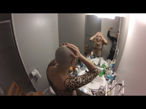 Marissa shaves her head bald with a razor!