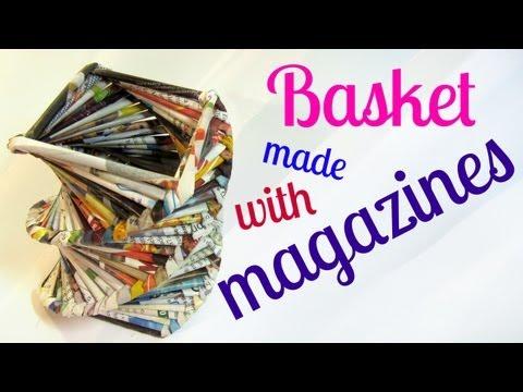 Tutorial: Basket made with magazines. Cesta hecha con revistas.