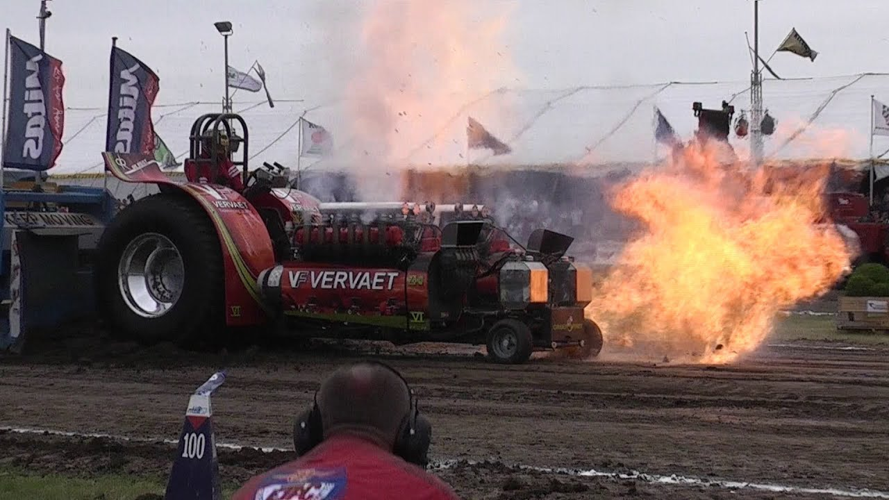 Tractor Pulling Accidents : Tractor pulling crash compressor explosion green