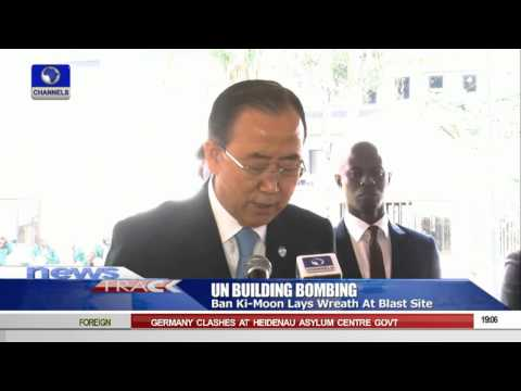 Ban Ki-moon Lays Wreath At UN Building Attacked By Boko Haram