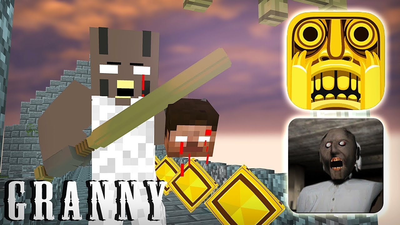Monster School : GRANNY VS TEMPLE RUN GAME CHALLENGE - Minecraft Animation