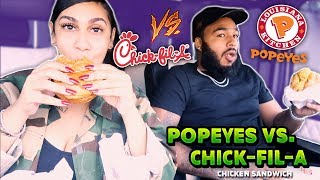 POPEYES CHICKEN SANDWICH VS. CHIC FIL-A CHICKEN SANDWICH!!! (INTENSE)