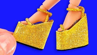 25 DIY Miniature Hacks and Crafts for Barbie! High-heel golden shoes