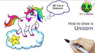 Drawing Cute Unicorn Face  - How to Draw Step by Step Beginners & Kids –Learn to Draw Tutorials
