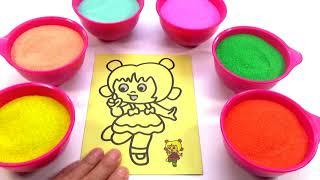 Cháu Lên Ba! Nhạc Thiếu Nhi-Đồ Chơi Trẻ Em TÔ MÀU TRANH CÁT HÌNH BÔNG HOA Colored Sand Pai