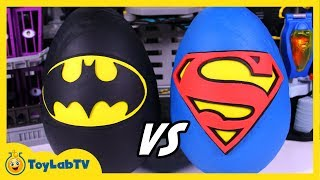 GIANT Batman vs Superman Play Doh Surprise Eggs with DC Comics Superhero Toys from ToyLabTV