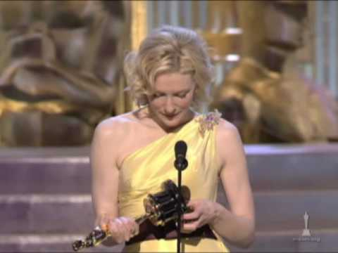 "Cate Blanchett winning an Oscar®   for ""The Aviator"""