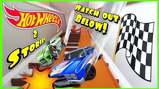 Take it to the Stairs! Hot Wheels Downhill Fast Race w/ Spiderman Homecoming and Superhero Toy Cars!