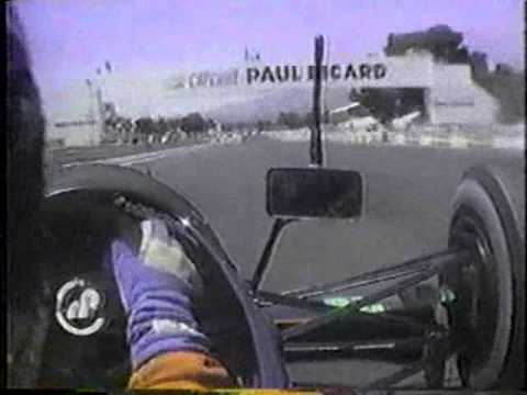 Forward and rear onboard views from Eric Bernard's Lola Larrousse Lamborghini at the 1990 French Grand Prix, with a great sounding V12 engine.