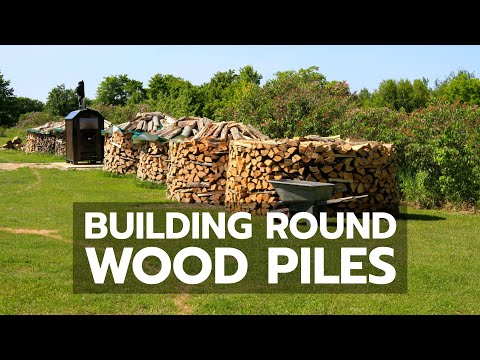 Round Firewood Pile Building Round Wood Piles