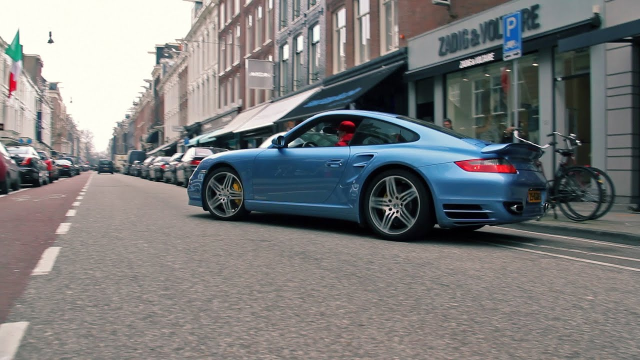 porsche 997 turbo ice blue metallic start up and. Black Bedroom Furniture Sets. Home Design Ideas