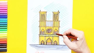 How to draw Notre-Dame Cathedral, Paris
