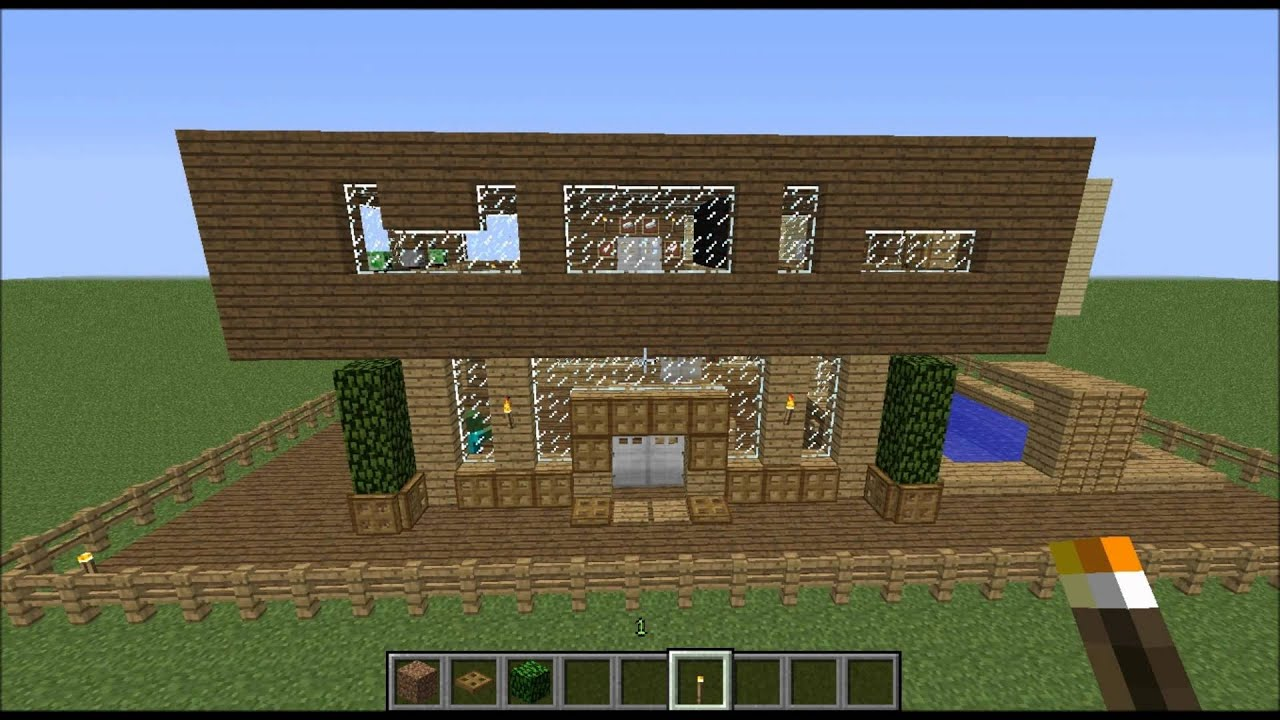 Minecraft maison moderne bois bonus youtube for Minecraft maison moderne plan