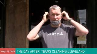Teams cleaning downtown Cleveland after Saturday violence