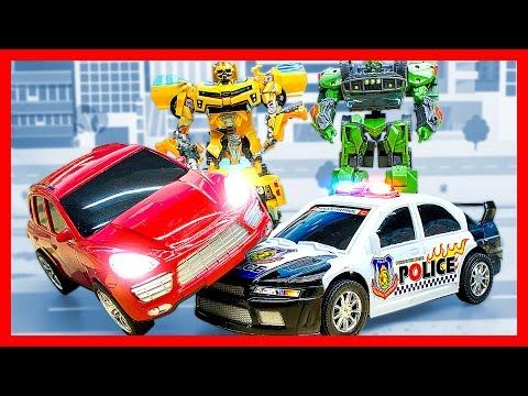 МУЛЬТФИЛЬМ ТРАНСФОРМЕРЫ. Отважные автоботы и полицейская машина. Роботы Трансформеры Мультики