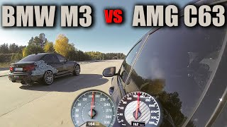 Mercedes C63 AMG vs BMW M3 Competition DRAG and ROLLING RACE