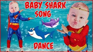 Baby Shark Song DANCE with Superman Baby and Wonder Woman Kid Songs Silly Big Head Babies Dancing