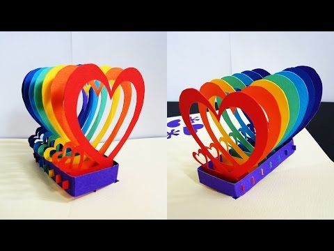 Pop up card (rainbow hearts) - learn how to make a popup heart greeting card - EzyCraft