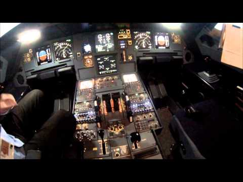 COCKPIT VIEW of a real Airbus 320 simulator FULL FLIGHT SIMULATOR [HD]
