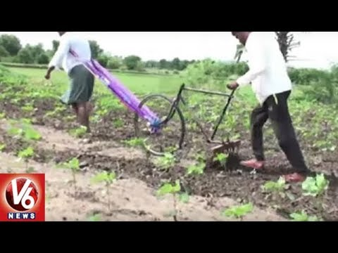 Great Idea: Youth Builds Weed Cutter With Bicycle In Rajanna Sircilla District   V6 News