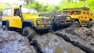 RC Cars MUD Test — Land Rover Defender AX D9001 and Hummer H1 Axial SCX10 4x4— RC Extreme Pictures
