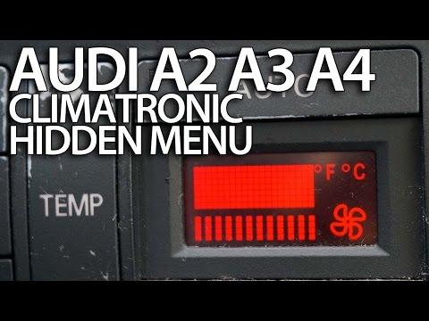 How to enter hidden service menu in Audi A2. A3 8L. A4 B5 Climatronic (secret. HVAC. diagnostic)