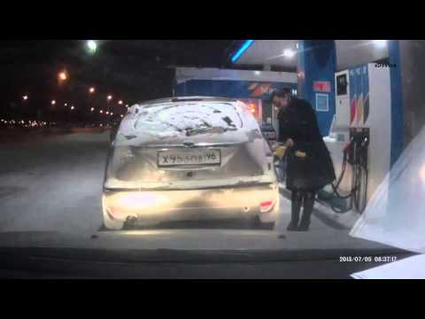 Flaming idiot! Russian girl with a lighter at a gas station!