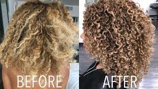 CURLY HAIR ROUTINE 2018! Styling + DIY Trim