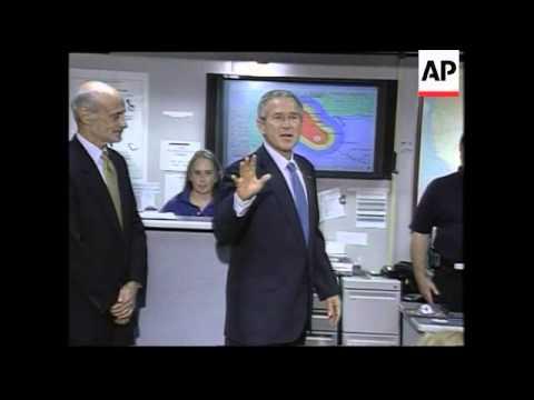 Bush visits FEMA HQ to receive updates, Rita imagery